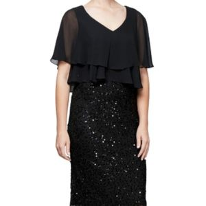 Pop Over Cape Cover Up Shawl Dress in Black